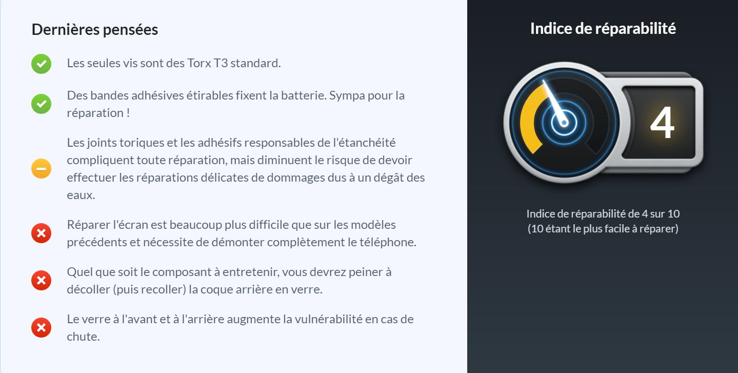 Score de réparabilité iFixit du Google Pixel 3