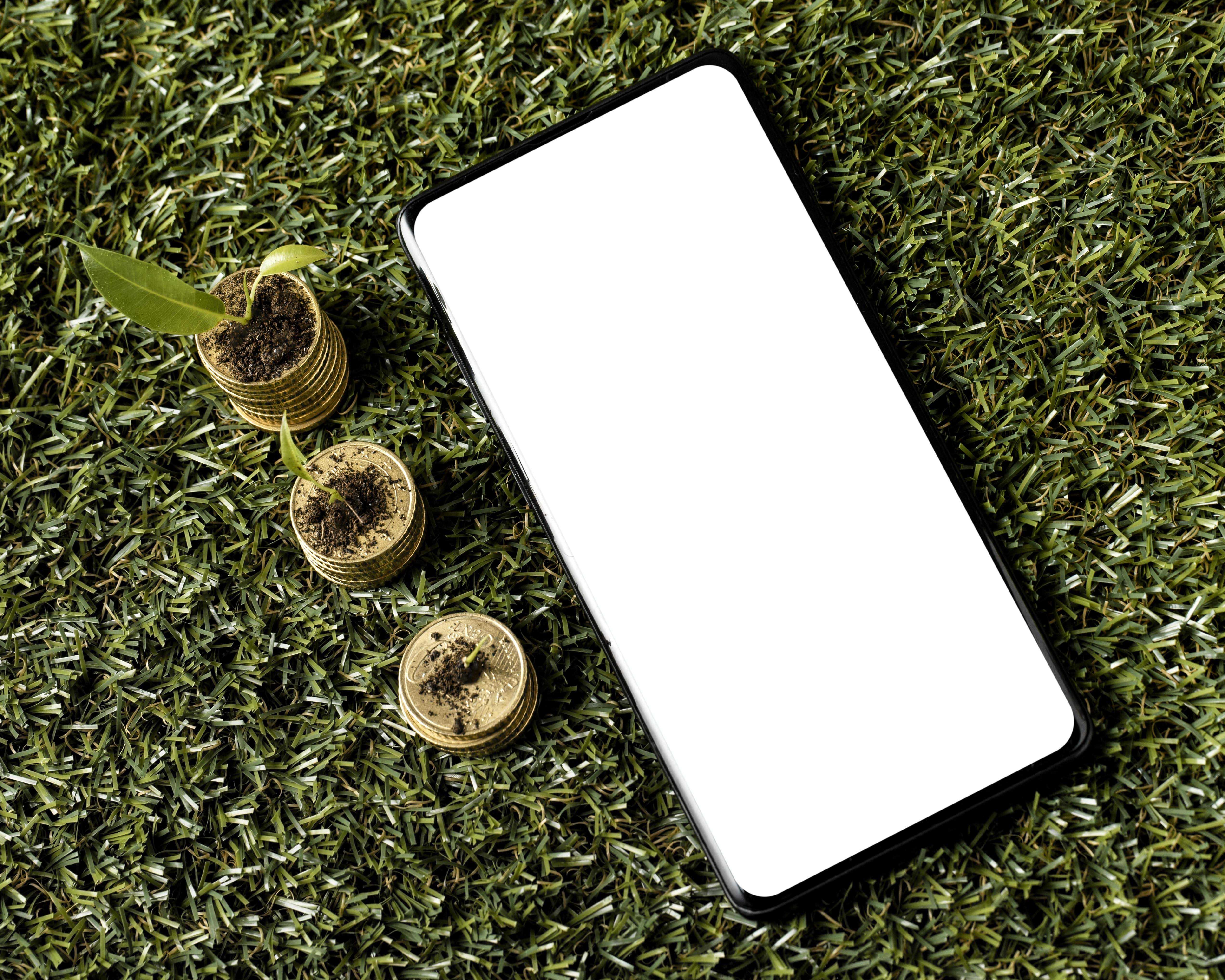 Smartphone posé dans l'herbe